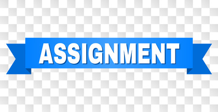 ASSIGNMENT text on a ribbon. Designed with white title and blue stripe. Vector banner with ASSIGNMENT tag on a transparent background.