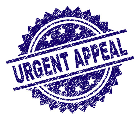 URGENT APPEAL stamp seal watermark with distress style. Blue vector rubber print of URGENT APPEAL label with dirty texture.