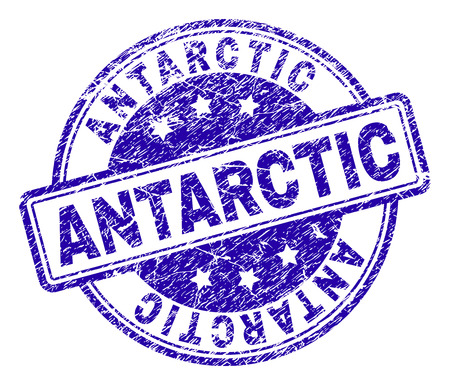 ANTARCTIC stamp seal imprint with distress texture. Designed with rounded rectangles and circles. Blue vector rubber print of ANTARCTIC title with dust texture.
