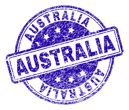 AUSTRALIA stamp seal imprint with distress texture. Designed with rounded rectangles and circles. Blue vector rubber print of AUSTRALIA title with dirty texture. Illusztráció