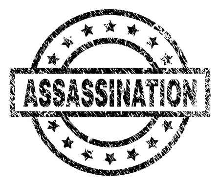 ASSASSINATION stamp seal watermark with distress style. Designed with rectangle, circles and stars. Black vector rubber print of ASSASSINATION label with dust texture. Illustration