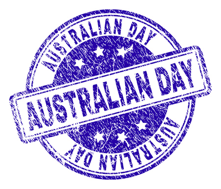 AUSTRALIAN DAY stamp seal watermark with distress texture. Designed with rounded rectangles and circles. Blue vector rubber print of AUSTRALIAN DAY title with unclean texture.
