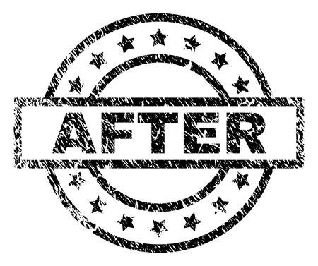 AFTER stamp seal watermark with distress style. Designed with rectangle, circles and stars. Black vector rubber print of AFTER caption with scratched texture. Иллюстрация