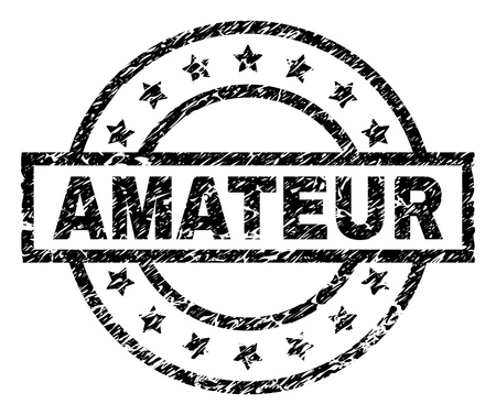 AMATEUR stamp seal watermark with distress style. Designed with rectangle, circles and stars. Black vector rubber print of AMATEUR text with scratched texture.