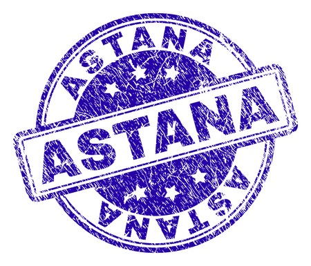 ASTANA stamp seal watermark with grunge texture. Designed with rounded rectangles and circles. Blue vector rubber print of ASTANA title with grunge texture. Illustration