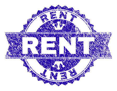 RENT rosette stamp watermark with distress texture. Designed with round rosette, ribbon and small crowns. Blue vector rubber watermark of RENT label with grunge style.
