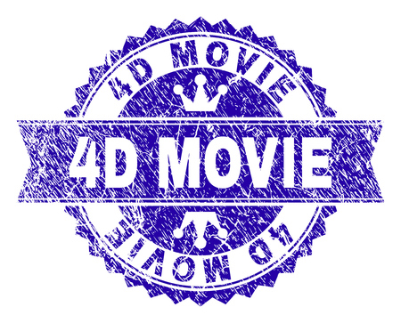 4D MOVIE rosette seal watermark with grunge texture. Designed with round rosette, ribbon and small crowns. Blue vector rubber watermark of 4D MOVIE tag with corroded texture.