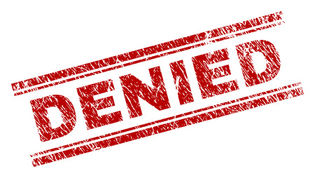 DENIED seal print with corroded texture. Red vector rubber print of DENIED label with corroded texture. Text tag is placed between double parallel lines.