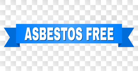 ASBESTOS FREE text on a ribbon. Designed with white caption and blue tape. Vector banner with ASBESTOS FREE tag on a transparent background.