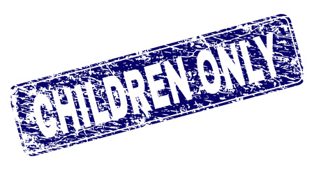CHILDREN ONLY stamp seal print with grunge texture. Seal shape is a rounded rectangle with frame. Blue vector rubber print of CHILDREN ONLY tag with grunge texture. Stock Illustratie