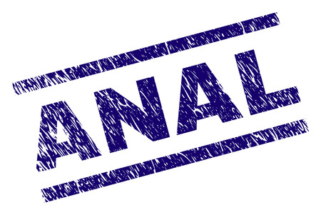 ANAL seal print with grunge style. Blue vector rubber print of ANAL caption with unclean texture. Text caption is placed between parallel lines.