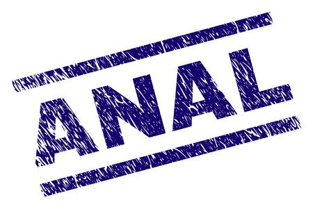Impression de sceau ANAL avec style grunge. Impression en caoutchouc de vecteur bleu de la légende ANAL avec une texture impure. La légende du texte est placée entre des lignes parallèles.