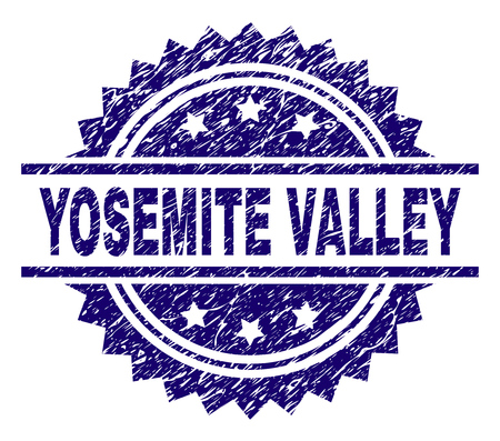 YOSEMITE VALLEY stamp seal watermark with distress style. Blue vector rubber print of YOSEMITE VALLEY caption with dirty texture.