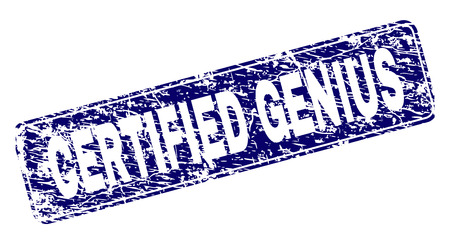CERTIFIED GENIUS stamp seal watermark with distress style. Seal shape is a rounded rectangle with frame. Blue vector rubber print of CERTIFIED GENIUS text with grunge style.