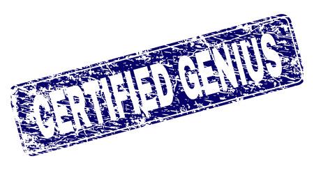 ZERTIFIZIERTES GENIUS-Stempelsiegel-Wasserzeichen im Distress-Stil. Siegelform ist ein abgerundetes Rechteck mit Rahmen. Blauer Vektorgummidruck von CERTIFIED GENIUS Text mit Grunge-Stil.