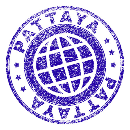 PATTAYA stamp imprint with grunge effect. Blue vector rubber seal imprint of PATTAYA text with grunge texture. Seal has words placed by circle and planet symbol.