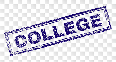 COLLEGE stamp seal print with rubber print style and double framed rectangle shape. Stamp is placed on a transparent background. Blue vector rubber print of COLLEGE text with dust texture.