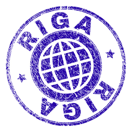 RIGA stamp imprint with grunge texture. Blue vector rubber seal imprint of RIGA text with dirty texture. Seal has words arranged by circle and planet symbol.