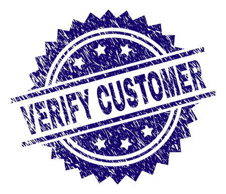VERIFY CUSTOMER stamp seal watermark with distress style. Blue vector rubber print of VERIFY CUSTOMER text with grunge texture. Illusztráció