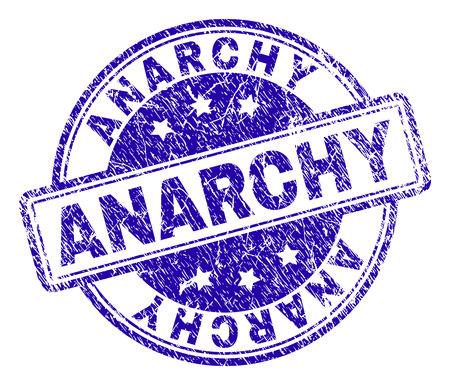 ANARCHY stamp seal watermark with grunge style. Designed with rounded rectangles and circles. Blue vector rubber print of ANARCHY label with grunge texture.