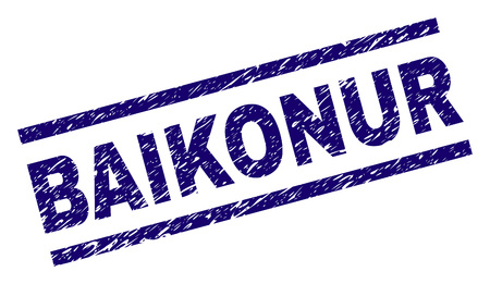 BAIKONUR seal print with distress style. Blue vector rubber print of BAIKONUR caption with retro texture. Text caption is placed between parallel lines.