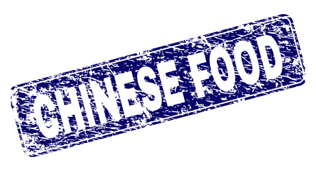 CHINESE FOOD stamp seal print with distress texture. Seal shape is a rounded rectangle with frame. Blue vector rubber print of CHINESE FOOD text with grunge style.