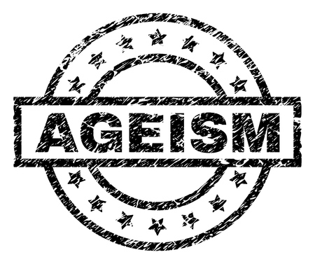 AGEISM stamp seal watermark with distress style. Designed with rectangle, circles and stars. Black vector rubber print of AGEISM caption with grunge texture.
