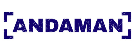 ANDAMAN text seal watermark with corroded effect. Text caption is placed between corners. Blue vector rubber print of ANDAMAN with corroded texture.