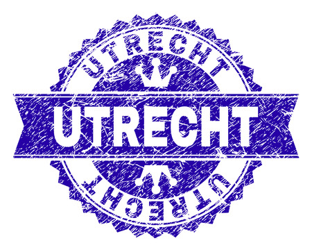 UTRECHT rosette seal imprint with grunge texture. Designed with round rosette, ribbon and small crowns. Blue vector rubber watermark of UTRECHT caption with grunge texture.