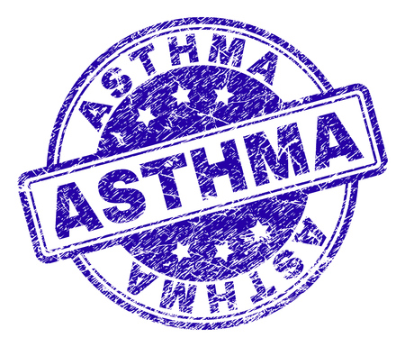 ASTHMA stamp seal watermark with grunge texture. Designed with rounded rectangles and circles. Blue vector rubber print of ASTHMA tag with grunge texture.