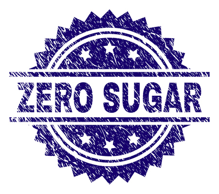 ZERO SUGAR stamp seal watermark with distress style. Blue vector rubber print of ZERO SUGAR title with scratched texture. Ilustrace