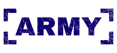 ARMY label seal print with distress texture. Text title is placed inside corners. Blue vector rubber print of ARMY with dirty texture.