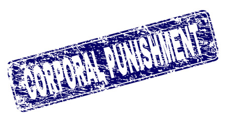 CORPORAL PUNISHMENT stamp seal imprint with distress style. Seal shape is a rounded rectangle with frame. Blue vector rubber print of CORPORAL PUNISHMENT text with unclean style.