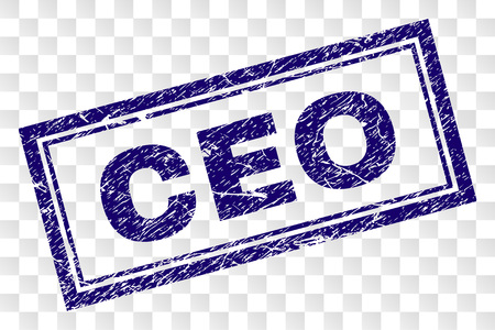 CEO stamp seal watermark with rubber print style and double framed rectangle shape. Stamp is placed on a transparent background. Blue vector rubber print of CEO caption with dirty texture.  イラスト・ベクター素材