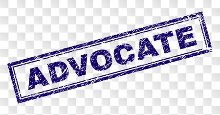 Impresión de sello de sello ADVOCATE con estilo de impresión de goma y forma de rectángulo de doble marco. El sello se coloca sobre un fondo transparente. Impresión de goma azul vector de etiqueta ADVOCATE con textura grunge.