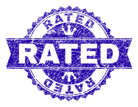 RATED rosette seal overlay with grunge effect. Designed with round rosette, ribbon and small crowns. Blue vector rubber watermark of RATED label with grunge texture. Illustration