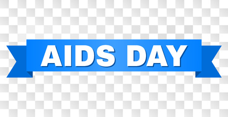 AIDS DAY text on a ribbon. Designed with white title and blue tape. Vector banner with AIDS DAY tag on a transparent background. Stock Illustratie