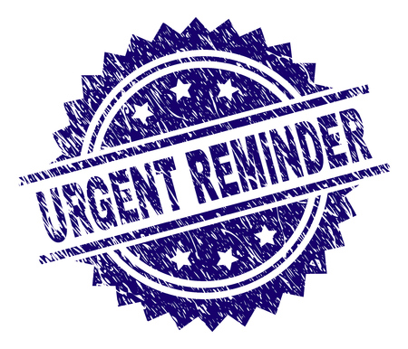 URGENT REMINDER stamp seal watermark with distress style. Blue vector rubber print of URGENT REMINDER title with corroded texture. Illusztráció