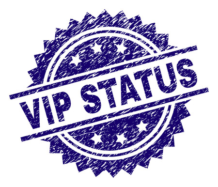 VIP STATUS stamp seal watermark with distress style. Blue vector rubber print of VIP STATUS label with scratched texture.