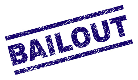 BAILOUT seal watermark with grunge style. Blue vector rubber print of BAILOUT label with grunge texture. Text title is placed between parallel lines.