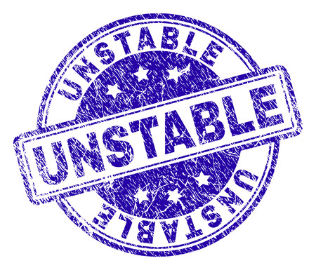 UNSTABLE stamp seal watermark with distress texture. Designed with rounded rectangles and circles. Blue vector rubber print of UNSTABLE title with dust texture.