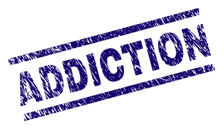 ADDICTION seal print with grunge style. Blue vector rubber print of ADDICTION label with scratched texture. Text label is placed between parallel lines.