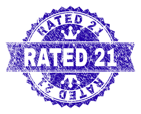 RATED 21 rosette stamp watermark with distress style. Designed with round rosette, ribbon and small crowns. Blue vector rubber watermark of RATED 21 title with scratched style. Stock Illustratie