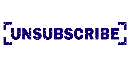 UNSUBSCRIBE text seal print with distress effect. Text label is placed between corners. Blue vector rubber print of UNSUBSCRIBE with dust texture.