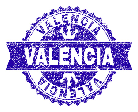 VALENCIA rosette stamp seal imitation with distress texture. Designed with round rosette, ribbon and small crowns. Blue vector rubber print of VALENCIA label with dirty texture. 写真素材 - 126662044