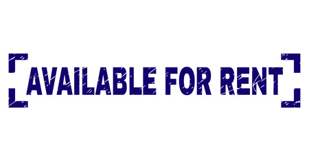AVAILABLE FOR RENT label seal print with corroded texture. Text title is placed between corners. Blue vector rubber print of AVAILABLE FOR RENT with corroded texture.