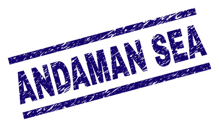 ANDAMAN SEA seal print with distress style. Blue vector rubber print of ANDAMAN SEA tag with retro texture. Text tag is placed between parallel lines. Иллюстрация