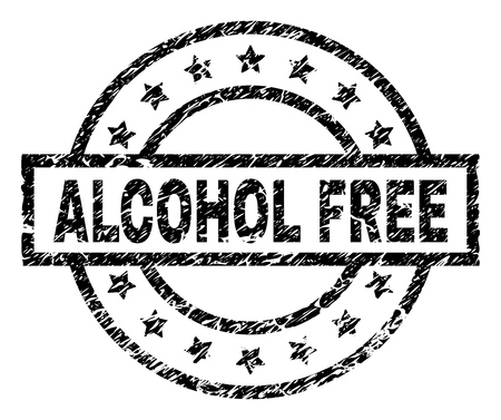 ALCOHOL FREE stamp seal watermark with distress style. Designed with rectangle, circles and stars. Black vector rubber print of ALCOHOL FREE label with grunge texture.