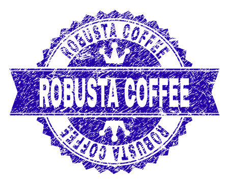 ROBUSTA COFFEE rosette stamp seal overlay with grunge style. Designed with round rosette, ribbon and small crowns. Blue vector rubber watermark of ROBUSTA COFFEE label with corroded style.