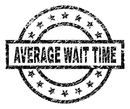 AVERAGE WAIT TIME stamp seal watermark with distress style. Designed with rectangle, circles and stars. Black vector rubber print of AVERAGE WAIT TIME text with grunge texture.